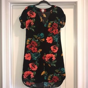 XS Tropical dress, short sleeves, floral pattern